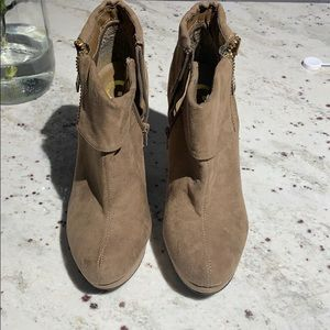 G by Guess suede tan booties (never worn!!)